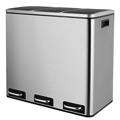 Kitchen Recycling Pedal Bin with 3 Compartments, Stainless Steel, Waste Separation System, Odour-Proof, Anti-Fingerprint, Soft-Close, Airtight, Easy to Clean, 67 x 41.5 x 60.5 cm