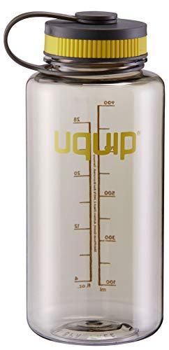 Uquip Thirsty 2.0 Botella de Agua - Tritan Material mas Duradero - 1 litro - con Cierre de Rosca, Color Gris/Negro Amarillo