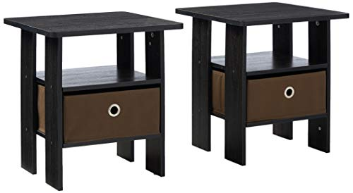 Buy Bargain FURINNO Andrey 2-Pack Bin Drawer End Table Nightstand, Americano/Medium Brown