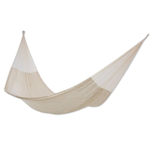 NOVICA Natural White Hand Woven Cotton Blend Mayan 2 Person XL Rope Hammock, Natural Comfort' (Double)