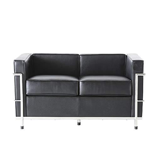 Huaishu Sofá de piel de alta calidad, color negro, sofá de 2 plazas, sofá doble moderno, para sala de estar, dormitorio, salón, oficina, habitación de invitados