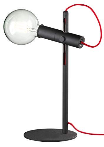loxomo - metalen tafellamp, 15 x 15 x 43 cm, textielkabel rood, tafellamp voor slaapkamer, woonkamer, kantoor tot max.60W, decoratieve lamp met E27 stopcontact, IP20, zwart/rood