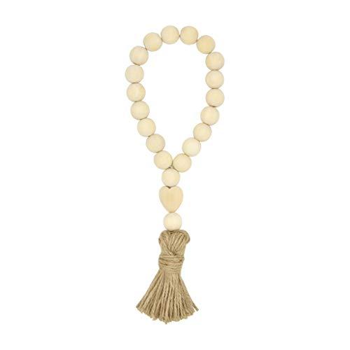 YO-HAPPY Quaste Bauernhaus Perlen natürliche Holzperle Girlande Kinder Baby Kinderzimmer Dekor Hochzeit Vase