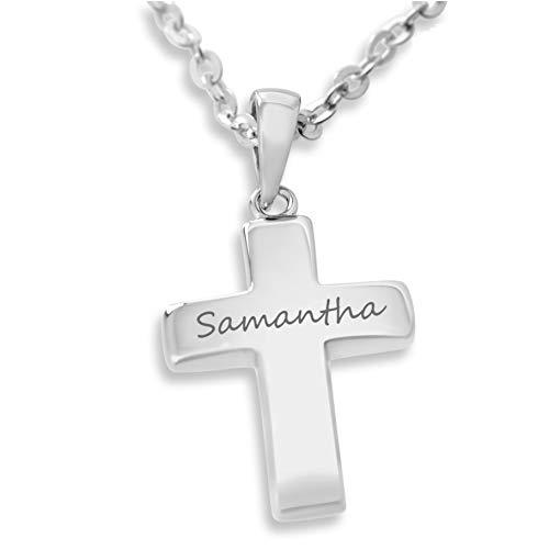 Silberkreuz Kette Kreuz schlicht Kreuzkette mit Namen ❤️ Silberkette zur Taufe 925 Silber ❤️ Geschenk Baby Patenkind Geburt Taufkette Kettenanhänger mit Kette Silberschmuck