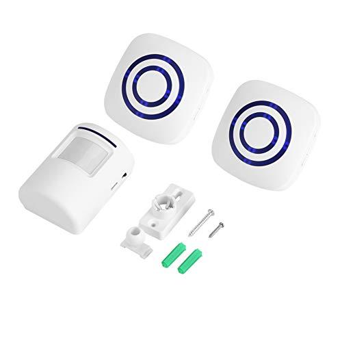 Campanello di Entrata Rilevatore Wireless Movimento del Sensore Infrarossi Mettere in Guardia Allarme con Ricevitore e Trasmettitore 38 Chime Tunes Indicatori LED(2+1 Eu)