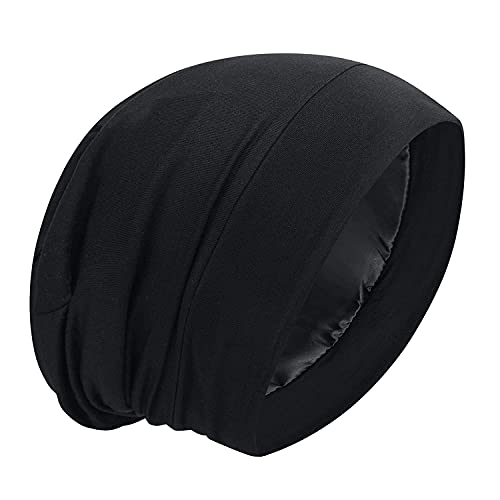 Satin Bonnet Silk Lined Sleep Cap Hair Cover Frizzy Hair Beanie Adjustable Slouchy Night Cap Hair Protection Patients Care (B L A C K)