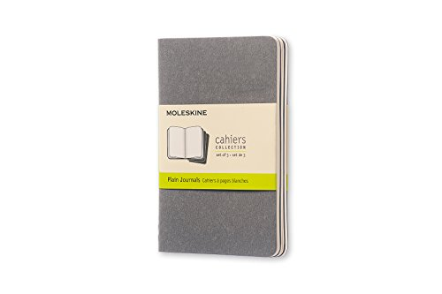 Moleskine Cahier Journal, Soft Cover, Pocket (3.5' x 5.5') Plain/Blank, Pebble Grey, 64 Pages (Set of 3)