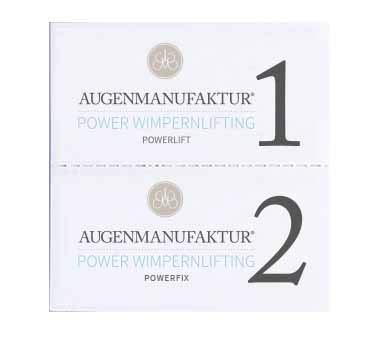 Augenmanufaktur Wimpernlifting Lotion Doppelkammer Sachets Powerlift & Powerfix á 10 Stück mit je 1 ml - macht Wimpern formbar und fixiert sie