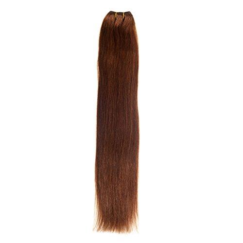 Euro soyeux Tissage 100 g Extensions de cheveux humains | 66 cm (Marron chocolat (4)
