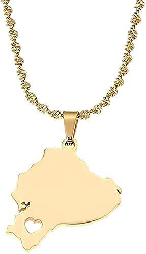 LBBYLFFF Collar Acero Inoxidable Color Ecuador Mapa Colgante Collar Mapa ecuatoriano Corazón Cadena Joyería Collar Longitud 50 cm Collar de Regalo