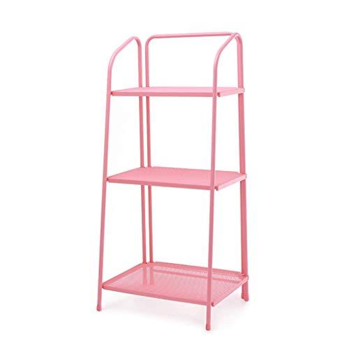 GWM Support de Plancher en Fer forgé présentoir de bonsaï d'intérieur coloré Salle de Balcon à Trois étages intégré Stand de Fleurs Taille: 60 * 47 * 127 cm (Couleur : Pink)