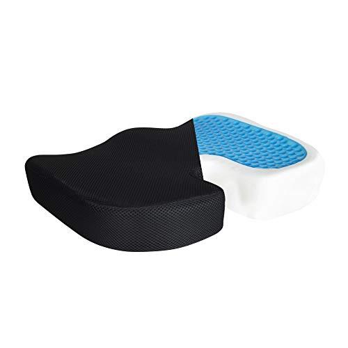 Louis Donne Sitzkissen für Bürostuhl, ergonomischer Memory-Schaum, tiefer Rücken, Steißbeinschmerzen, Druckentlastung, extra groß, Schwarz