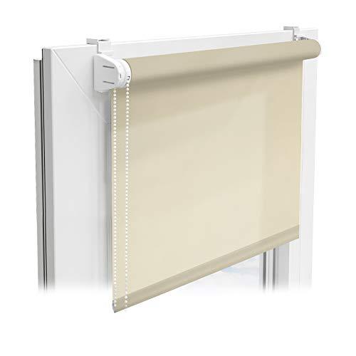 casa pura® Sichtschutzrollo - lichtdurchlässiges Rollo als Sichtschutz am Fenster - Fensterrollo in vielen Größen und Farben | Beige | 120x150cm