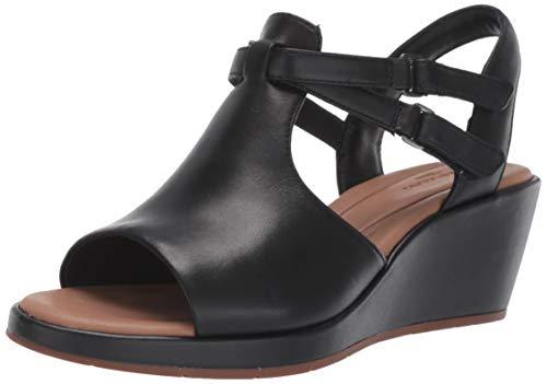 Clarks Women's Un Plaza Way Wedge Sandal, Black Leather, 90 M US