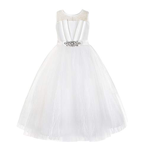 Princess Daliana Special Occasion Sleeveless Illuminating Neckline Pageant First Communion Dress Off- White Size 7