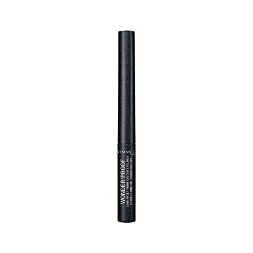 Rimmel London Eyeliner Waterproof Wonder'Proof, Eyeliner Liquido Occhi a Lunga Durata, Colore Intenso, 006 Sparkly Anthracit