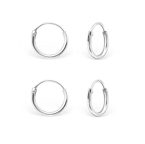 DTP Silver - Conjunto 2 pares Pendientes Aro - Plata