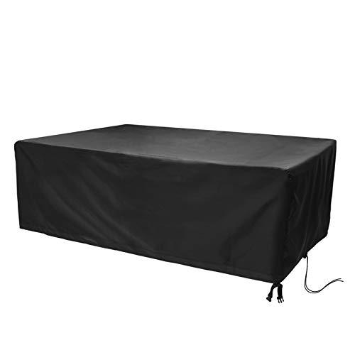 Hydrogarden Cubierta de Muebles de Jardín Fundas de Muebles Impermeable Resistente al Polvo Anti-UV Protección Exterior Muebles de Jardín Cubiertas de Mesa y Silla Negro 213x132x74cm