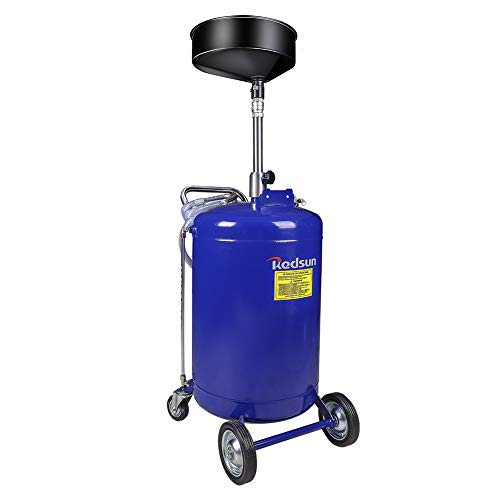 redsun 30 Gallon Portable Oil Drain Air Operated Oil Drain Tank Drainage Adjustable Funnel Height with Wheel for Easy Oil Removal (Blue)