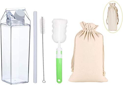 Tigor Klare Milchkarton Wasserflasche Transparente Plastikflasche 500ml / 1000ml (Klein - 500 ml)