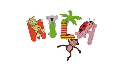 Holzbuchstaben Tiere mit Palme Schriftzug Türschild für die Kinderzimmertür (Preis bezieht sich auf einen Buchstaben)