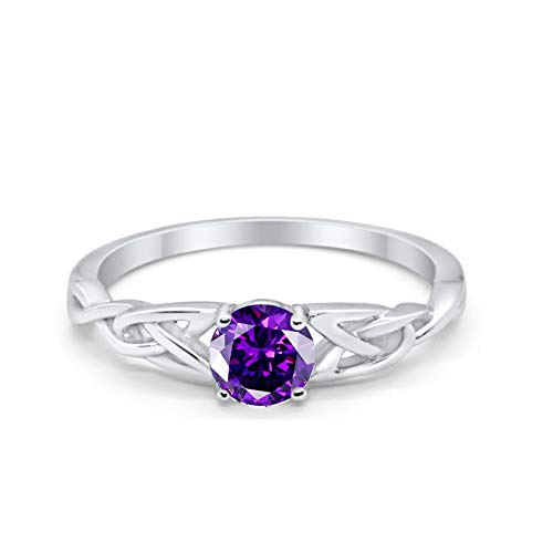 Blue Apple Co. Celtic Trinity Ring Solid 925 Sterling Silver Wedding Engagement Promise Ring SolitaireSimulated Amethyst Cubic Zirconia Size-11