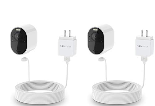 30ft 2 Pack HOLACA Power Adapter and 30ft//9m Cable for Arlo Ultra//Arlo Pro 3,Weatherproof Outdoor or Indoor Magnetic Cable Continuously Charging for Your Arlo Camera