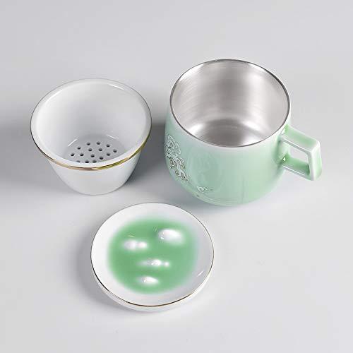 GuoQiang Zhou Tetera de Plata Copa 300ML té de la Porcelana con la Tapa del Filtro de cerámica Taza de Agua de la Taza de Plata esterlina de Plata Liner Taza de té de Oficina