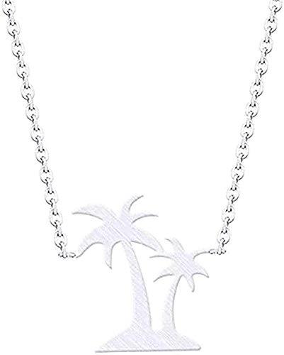 Homme Hawaii Beach Jewelry Collares y colgantes de doble palmera Collar de coco de acero inoxidable para mujer