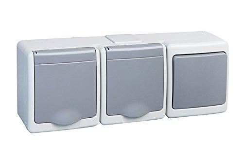 2-Fach Aufputzsteckdose mit Schalter IP44 16A/250V Schuko Aufputz Feuchtraum Steckdose GR