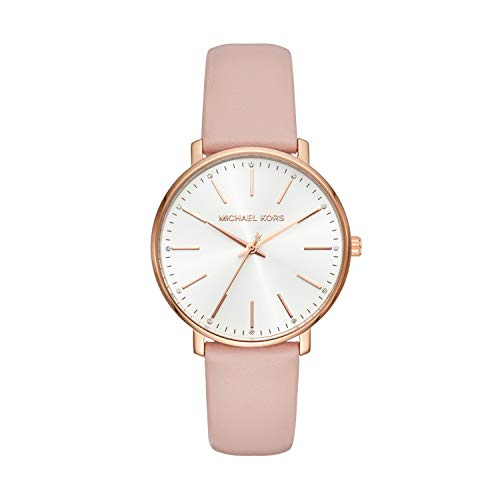 Michael Kors Women's Stainless Steel Quartz Watch with Leather Calfskin Strap, Pink, 18 (Model: MK2741)