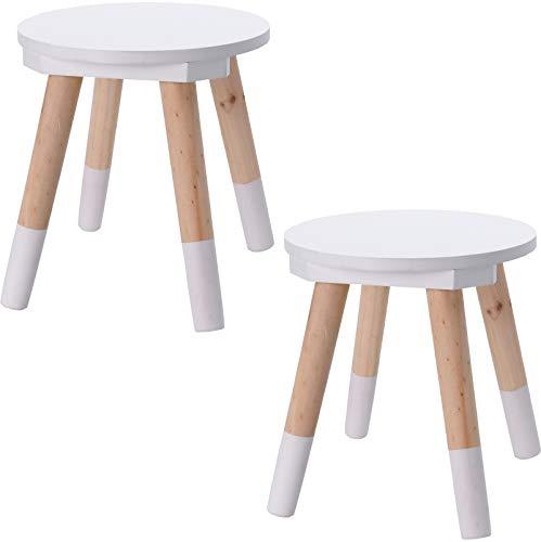 Fair-Shopping 2X Kinderhocker Hocker Blumenhocker Beistelltisch Kinderstuhl Kinderzimmer 24 cm x 26 cm Weiß Set
