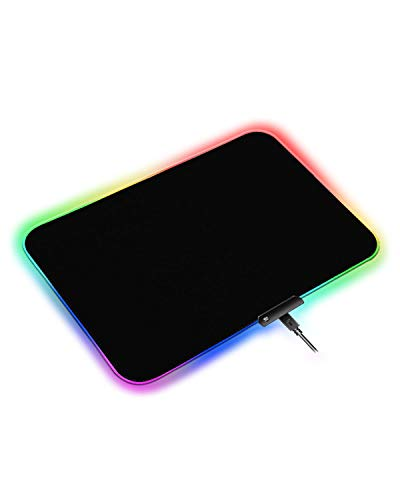 RGB Gaming Mouse Mat-300*250*4mm Black Mouse Pat with 10 Lights Modes,Mouse Pats with Button Control,Soft Non-slip Rubber Case,LED Keyboard Mouse Mats for Gaming,Macbook,PC,Laptop,Desk