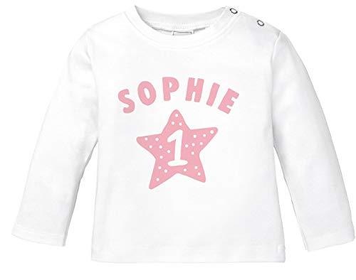 SpecialMe® Baby Langarmshirt mit Name und Zahl 1 zum ersten Geburtstag Motiv Stern Geburtstagsshirt Junge/Mädchen Mädchen weiß 56/62 (1-3 Monate)