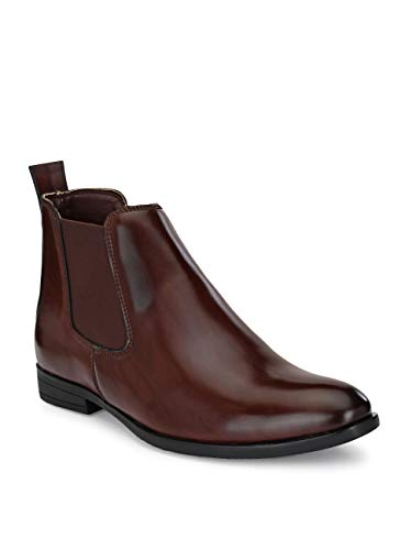 FENTACIA Men Brown Synthetic Leather Formal Chelsea Boots