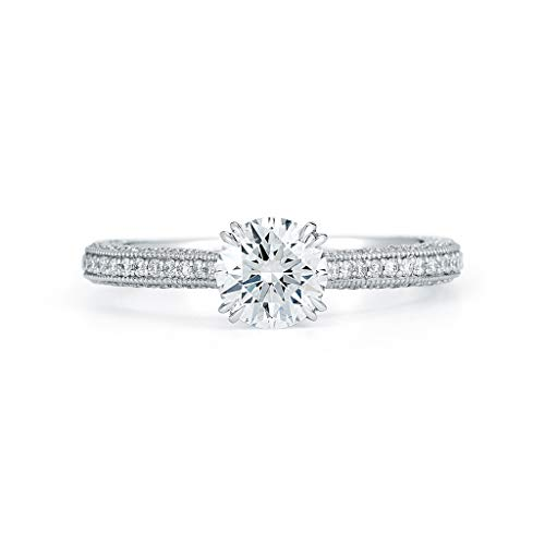 Rachel Koen Round Cut Solitaire Triple Pave Diamond Engagement Ladies Ring Platinum 2.25cts