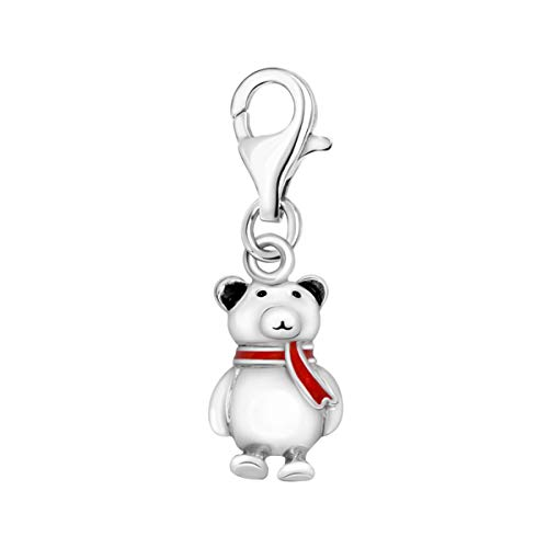 Quiges 925 Sterling Silver 3D Cute Winter Teddy bär with Red Enamel Scarf Clip On Lobster Clasp Charm Pendant