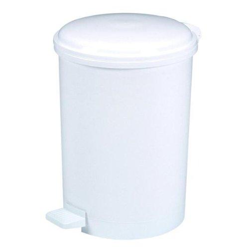 ROSSIGNOL Poubelle à pédale Plastique 40L, Blanc, Dim. Ø 380 H 530 mm
