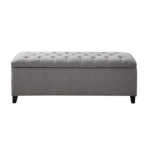 Madison Park Shandra Storage Ottoman - Solid Wood Polyester Fabric Toy Chest Modern Style Lift-Top Accent Bench for Bedroom Furniture Medium Grey