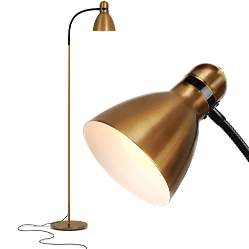 Brightech Avery - Dimmable Task & Reading LED Floor Lamp - Bright Modern Contemporary Standing Light - for Office, Bedroom, & Living Room - Sturdy and Lightweight - Brass