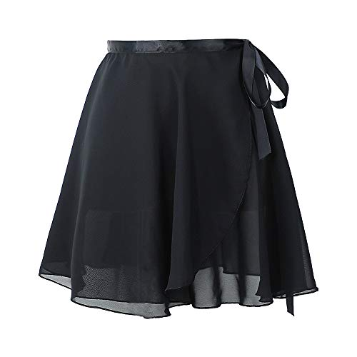 Girls Chiffon Wrap Ballet Skirt,Women Leotards Skirt Ballet Practice Dance Wear Ballet Dance Wrap Open Skirt with Waist Tie Black L
