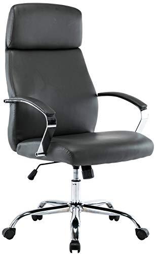 CLP Silla de oficina Faro XL de piel sintética I tela I silla de escritorio regulable I Silla giratoria con estructura de metal cromado color gris Material: piel sintética