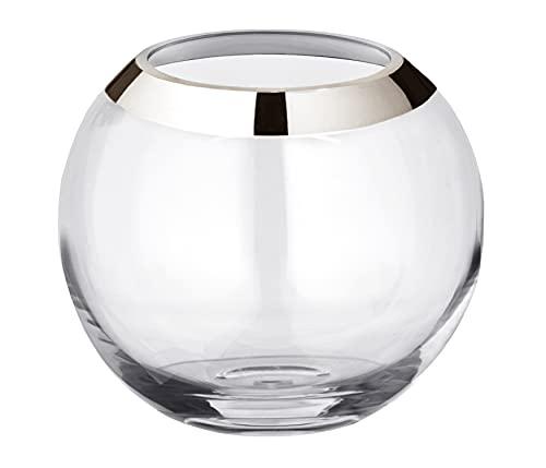 EDZARD Vase Kugelvase Mirinde, hochwertige Blumenvase aus mundgeblasenem Kristallglas mit Platinrand, H 18 cm, ø 20 cm, Öffnung der Glasvase ø 10 cm