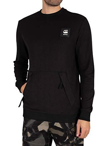 G-STAR RAW Box Logo Pocket Tweater Maglia di Tuta, Dk Black C584-6484, XXL Uomo