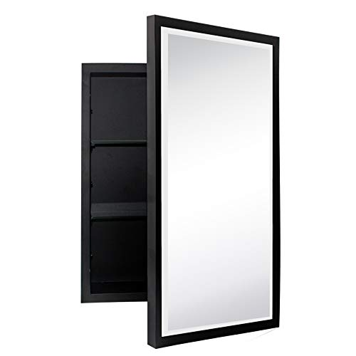 TEHOME Black Metal Framed Recessed Bathroom Medicine Cabinet with Mirror Rectangle Beveled Vanity Mirrors for Wall 16 x 24 inches
