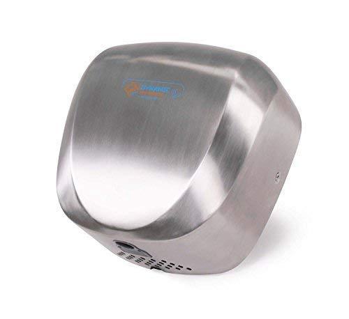 Automático handt rockner–Rápido, potente, alta velocidad, filtro HEPA, compacto, kommerziell, Costes, diseño moderno, aire caliente de secador de manos (Jet Dryer Dynamic–Plata Acero Inoxidable