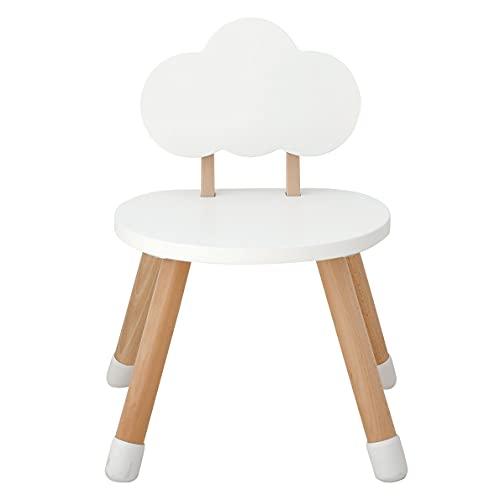 KYWAI - Silla Infantil de Madera Blanca, para niños, Madera de Haya lacada. Diseño nordico. Cantos Redondeados para Mayor Seguridad. (Blanco Nube)