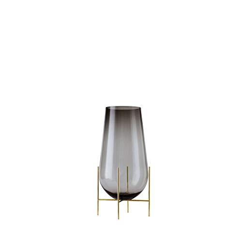 Échasse Vase S, rauchgrau H 28cm Ø 15cm Gestell Messing gebürstet