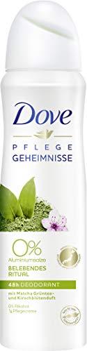 Dove Deodorante spray per la cura di ingredienti nutrienti Ritual Matcha profumo di tè verde e fiori di ciliegio 0%, confezione da 6 (6 X 150 ML)