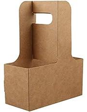 BESTonZON 5PCS 4 Taza de Papel Kraft Portador de Bebidas Café para Llevar Portador de Bebidas para Llevar con Asas